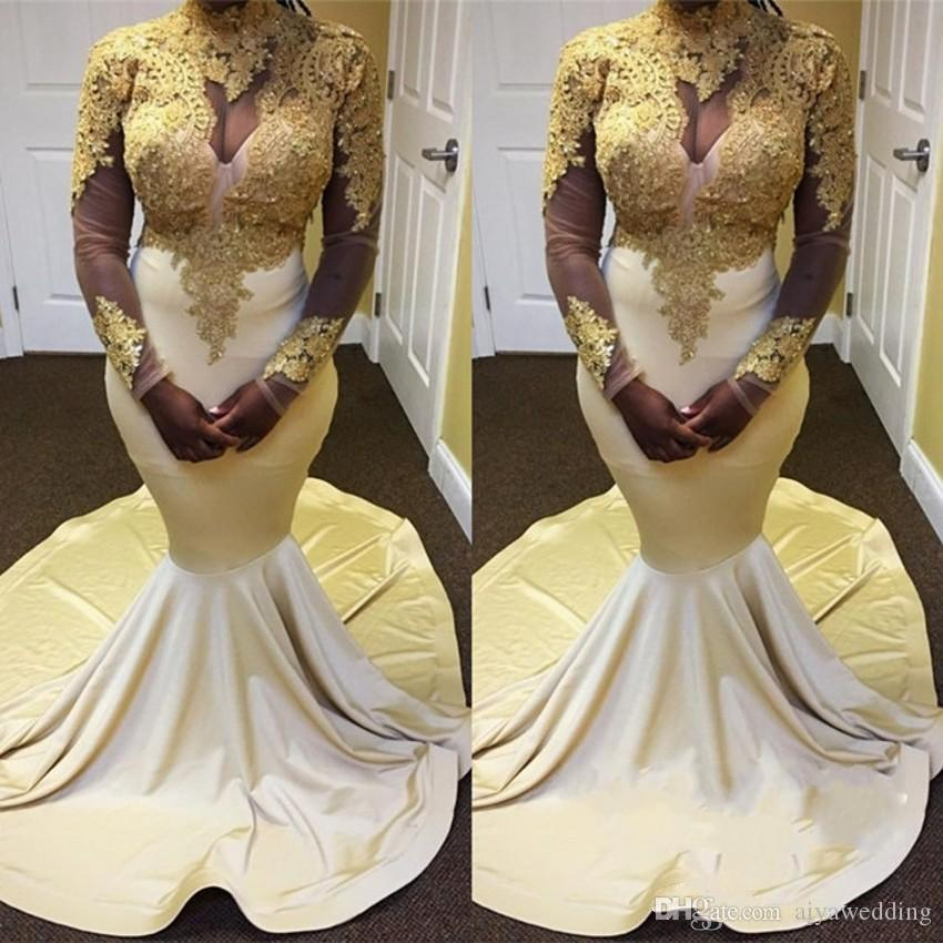 abf4492a03 New Unique Gold And White Mermaid Evening Dresses Long 2019 High Neck Long  Sleeve Gold Applique Formal Dresses Prom Gowns Free Fast Shipping Dresses  Women ...