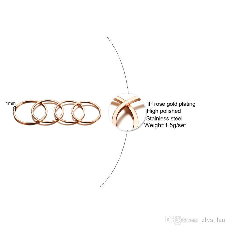 Fedi nuziali eleganti Anniversary Rings Set donne / Fede plute oro rosa Stainless Steel Party Rings Anel femminile