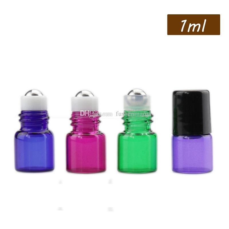 Rolo de vidro ambarino na garrafa Perfume frascos de óleo essencial 1ml 2ml 3ml vidro / aço Talão transpant / Leitoso branco titular Walk Bead Garrafas