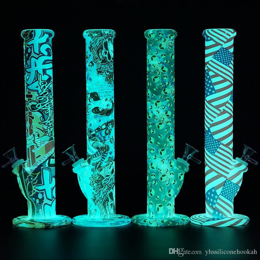 Brilham no escuro 14 '' bong reto não desaparecendo impressão equipamento de óleo Silicone Bongos de água 14mm conjunta tabaco tubo de água tubos de vidro