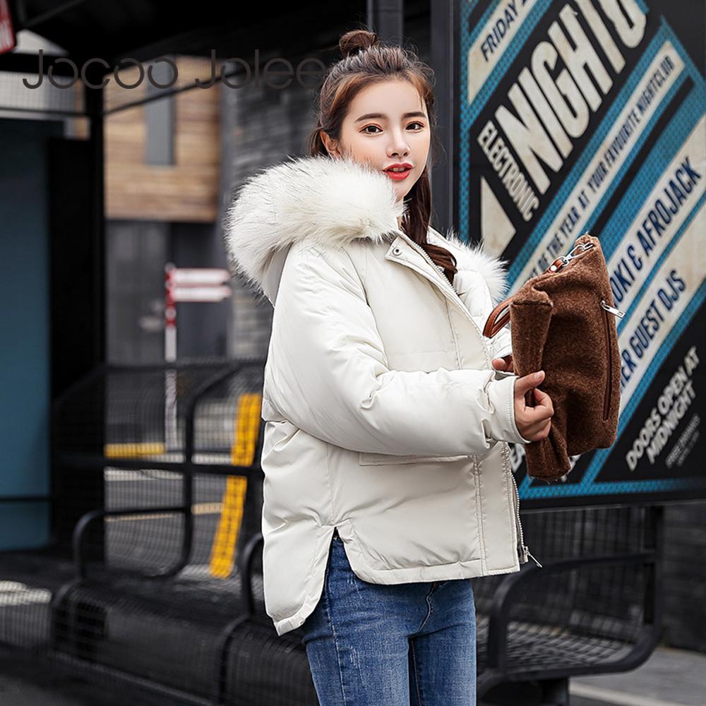 Jocoo Jolee Neue Winter Lose Baumwolle Gepolsterte Parkas Frauen Daunenjacke Weibliche Mit Kapuze Taschen Dicke Outwear Beiläufige Koreanische Mantel