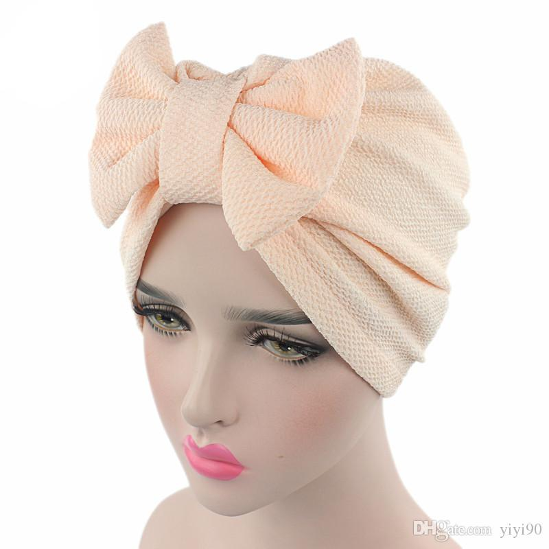 Womens Bowknot Bow tie Stretch Hijab Turban Headwear Cap Ruffle Chemo Hat Beanie for Cancer Patients hair accessories