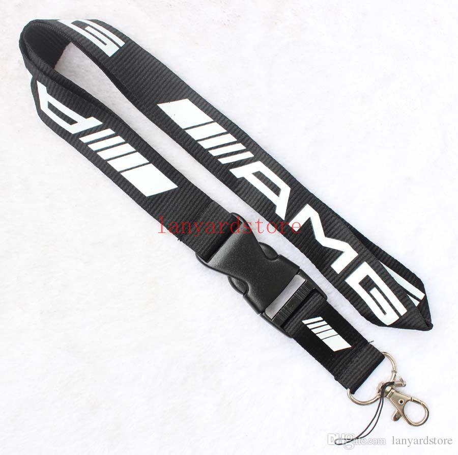 The charisma of a car AMG Lanyard Keychain Key Chain ID Badge cell phone holder Neck Strap black.