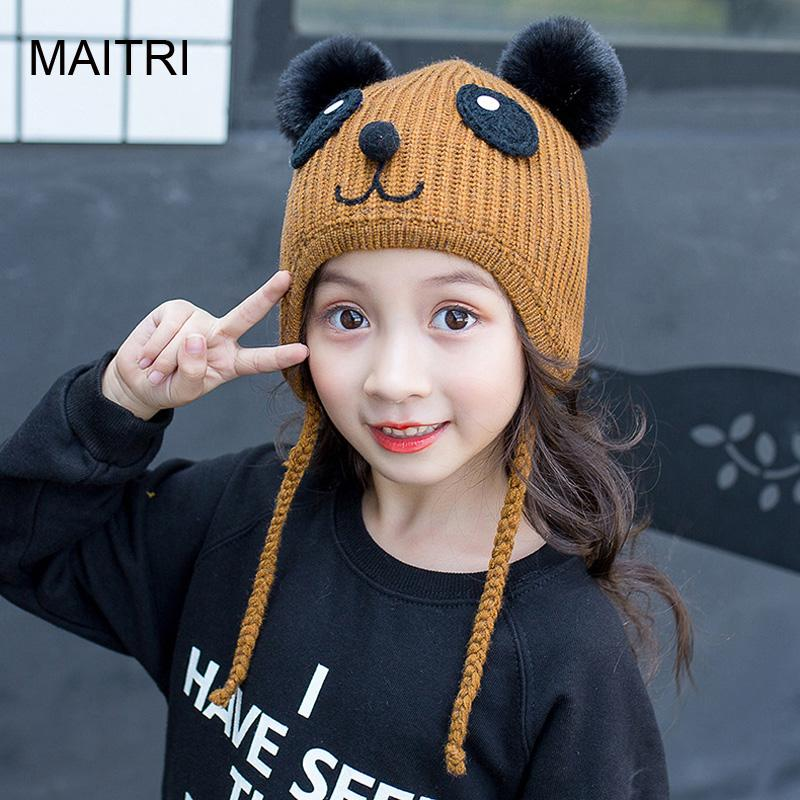 15ed80b9e58 2019 MAITRI For 2 6 Years 2019 New Kids Cute Winter Hats Fashion Panda  Style Boys Girls Wool Double Pompom Beanie Cap Bonnet Enfant From Towork
