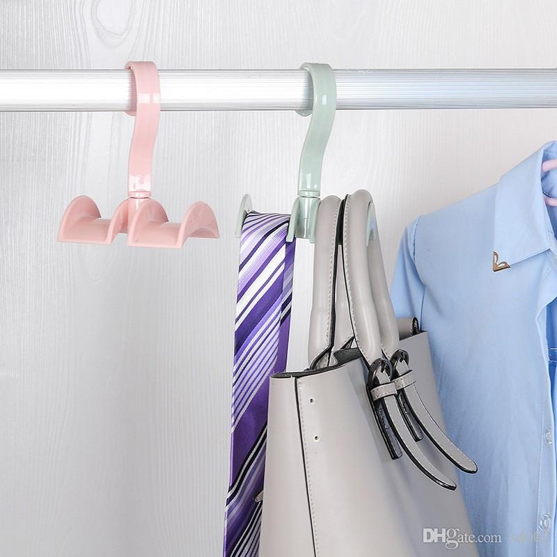 Kunststoff-Doppelhaken Space Saver Rotierende Schal Krawatten Taschen Lagerregal Praktisch für das Home Office Pothook Pink 1 68xm B
