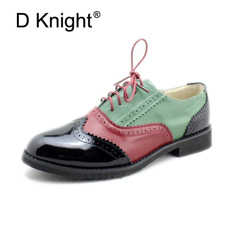 13a2fc5786b Plus Size 32 45 Brogue Shoes Women Genuine Full Grain Leather Round Toe Lace  Up 2018 Fashion Handmade Lady Flats Wingtip Oxfords Mens Boots Shoe From ...