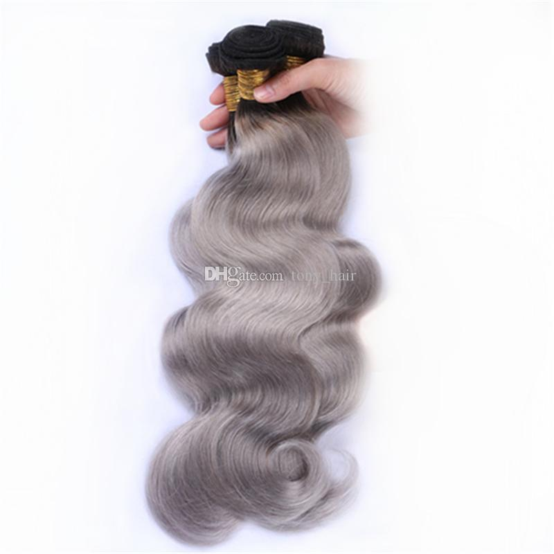 Malaysian Ombre 3 Bundles with Closure 1B Grey Body Wave Weaves and Closure Dark Roots Gray Ombre Hair Wefts with Top Closure