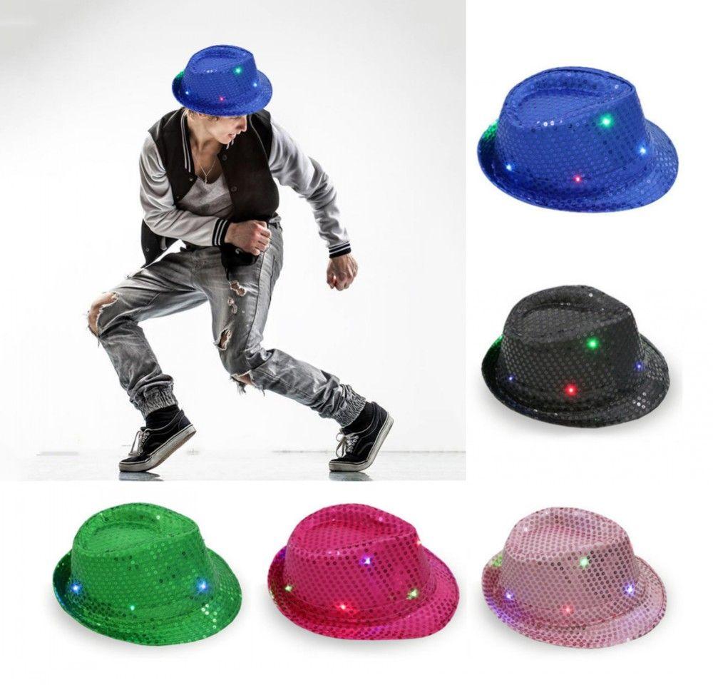 b0519892bcd3d ... discount code for online cheap led lights jazz hats blinking flashing  sequin hip hop baseball caps