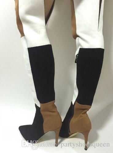 2018 Yeni Kadın Moda Karışık Renk Over-The-Diz Sivri Burun Uzun çizmeler Bahar Yan Fermuar Yüksek Topuk Ayakkabı Üzerinde Kayma Ücretsiz Gemi