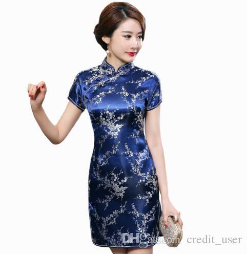 510e25290b86 Navy Blue Traditional Chinese Dress Women S Satin Qipao Summer Sexy Vintage  Cheongsam Flower Size S M L XL White Formal Dresses Short Prom Dress From  ...