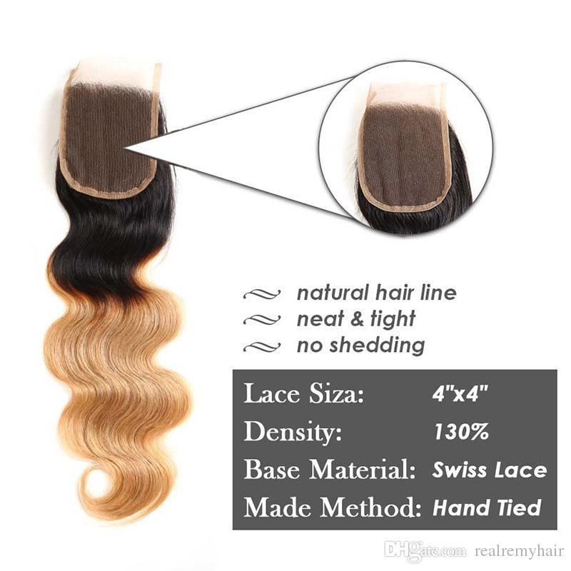 Ombre Body Wave T1B / 27 # Dark Root Honey Blonde Paquetes de cabello humano con cierre de encaje Color armadura brasileña del pelo con cierre