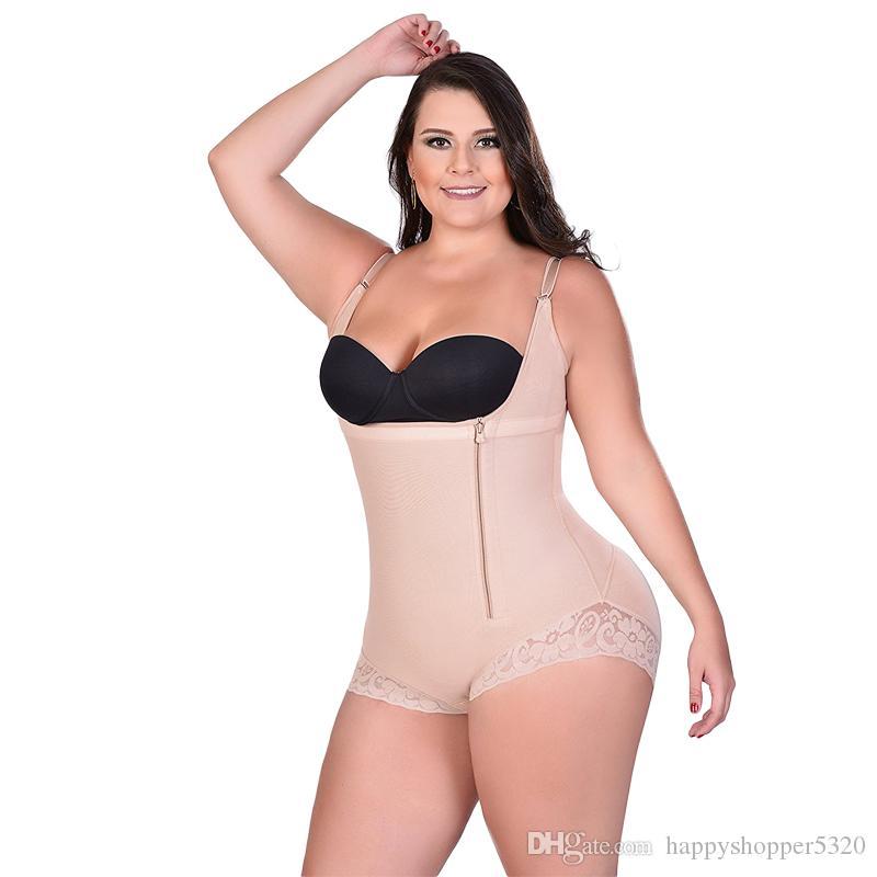 Женщины Формирователи Zipper з-6XL Sexy Body Shaper Butt Lifter Нижнее белье для похудения Bodysuit Plus Большой размер с высокой степенью сжатия Нажмите Hip вверх Талия Traine