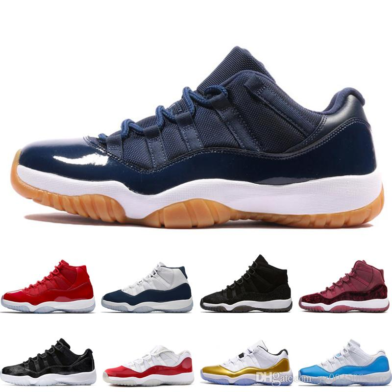 b0797a2dc10b67 Купить Оптом Nike Air Jordan Aj11 11 Low White Red Navy Gum Баскетбольные  Ботинки Bred Georgetown Space Jam Citrus GS Баскетбольные Кроссовки Женщины  ...
