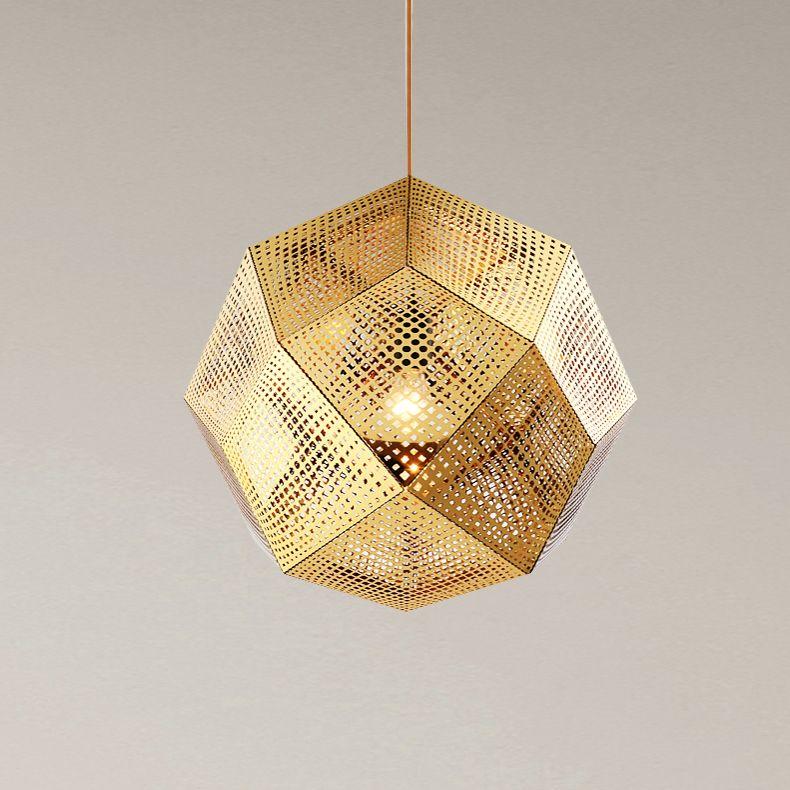 New Tom Dixon Etch Pendant Brass Lamp Geometric Box Droplht Led
