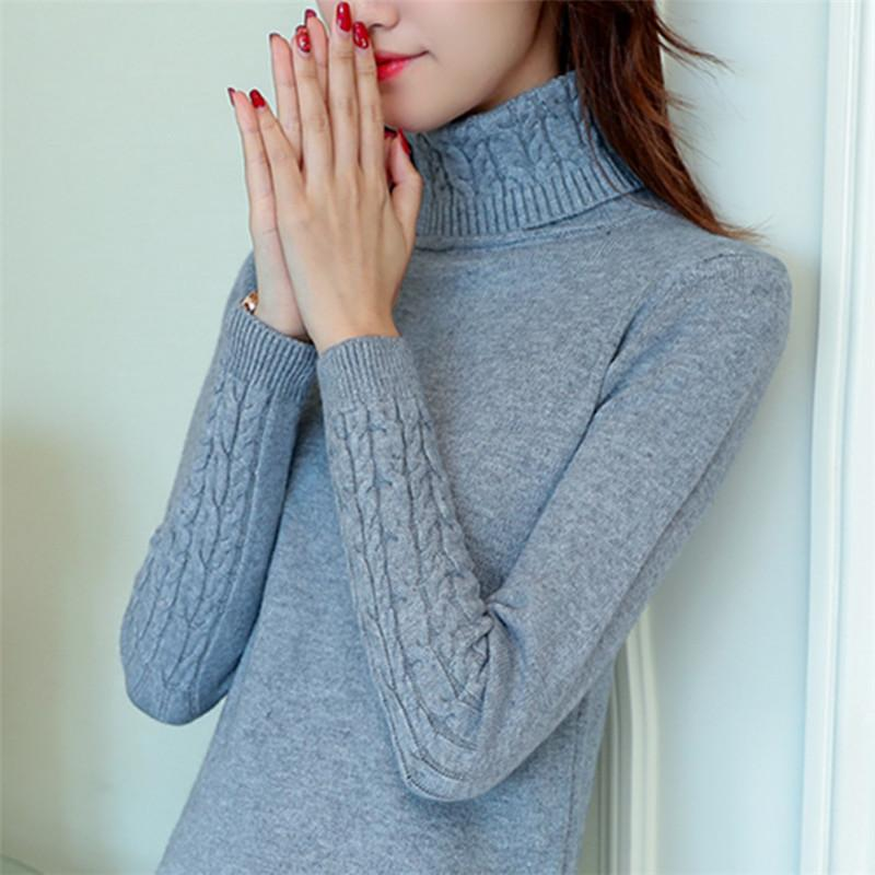 Woherb Korean Fashion Slim Women Sweaters Autumn Winter Solid Turtleneck Knitted Sweater Long Sleeve Patchwork Pullovers 73562