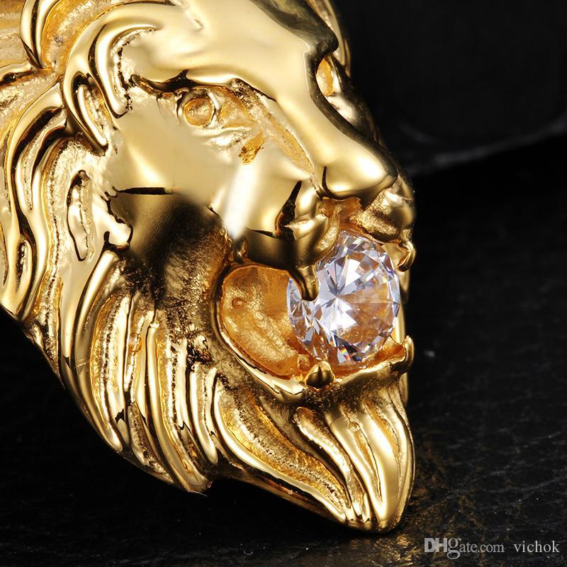 Colar de Pingente de Cabeça de Leão de Aço Inoxidável 316L Mens Prata Cor de Ouro Rhinestone Embutidos com Corrente de ligação VICHOK