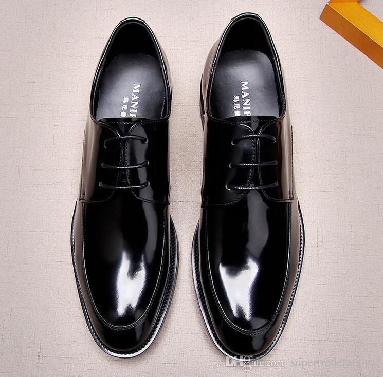 compre zapatos de vestir hombres encaje cuero genuino novio de la