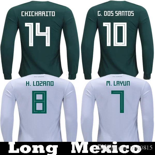 Manga Larga 2018 México CHICHARITO LOZANO GUARDADO J.DOS SANTOS Camisetas  De Futbol 2019 Manga Completa Mejico VELA LAYUN Camisetas Fútbol Camisetas  Por ... 8664386fea8