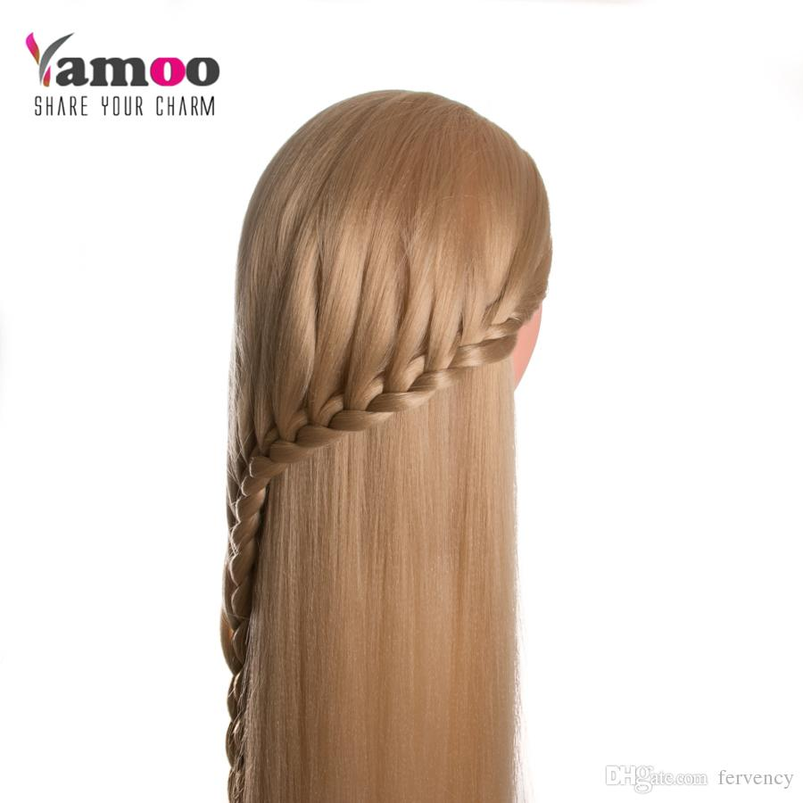 hairdressing dolls head long yaki hair 80cm Professional Female Mannequin Hairdressing Styling Training Head
