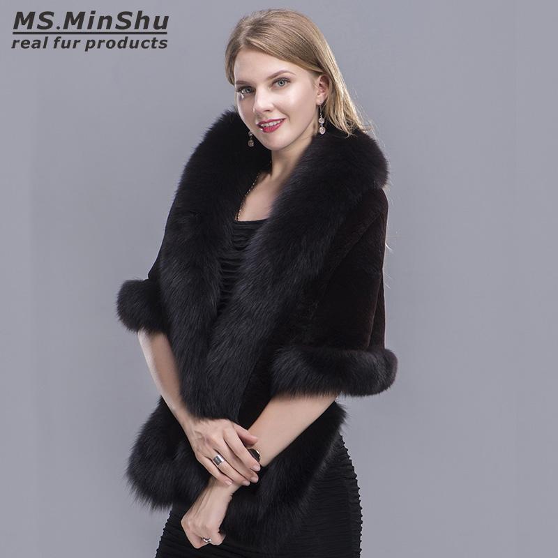 18e17c531c30e 2019 Fox Fur Trimmed Rex Rabbit Cape Fox Fur Shawl Winter Women Genuine Fur  Poncho Pashmina Fashion Poncho Winter Cape Female MS.