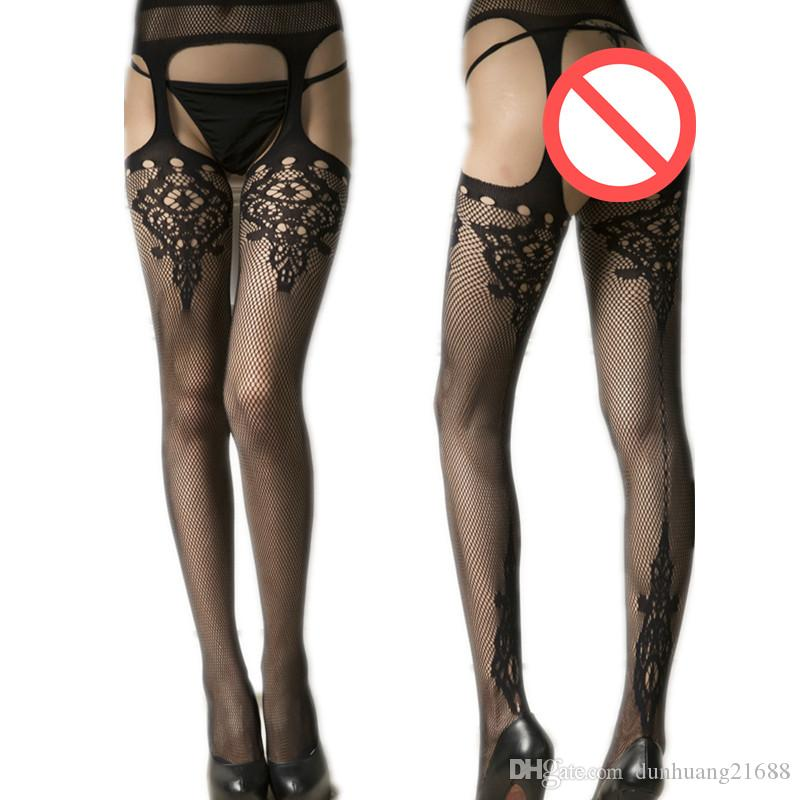 1718e11e7b0 Hollow Out Tights Lace Sexy Stockings Female Lingerie Thigh High ...