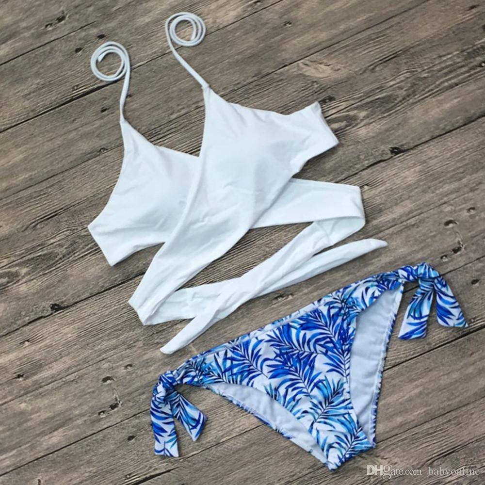 Mujeres Sexy Bikini Señoras Vendaje Impreso Swimwears Femenino Halter Bikinis Set traje de baño Mujeres cintura baja traje de baño SO0068