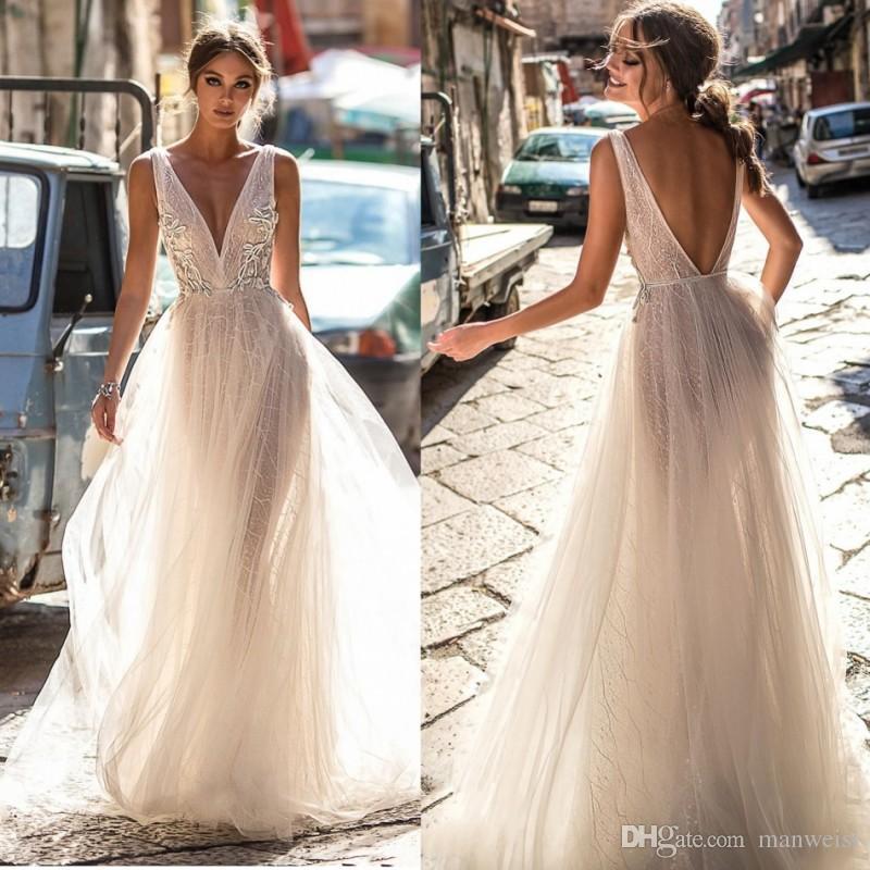 9025b16e2 Vestido Para Madrinha Berta Bride 2018 Vestidos De Casamento De Renda  Backless Deep V Neck Lace Appliqued Boho Vestidos De Noiva Illusion Bodice  Tulle ...