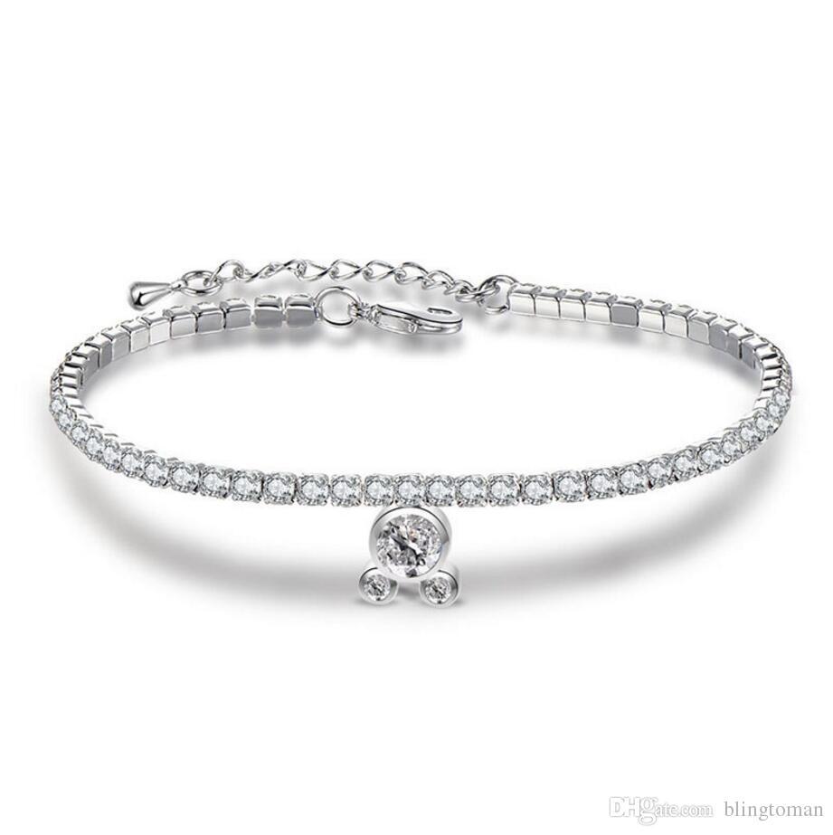 Pendant Bangle Bracelets Cubic Zirconia Tennis Bracelet Bangles For Women Simple Bracelets New Fashion Lady Jewelry Pulseras Mujer