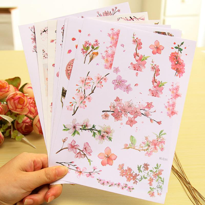 2019 A5 Beautiful Peach Blooming Paper Sticker Diy Diary Decoration
