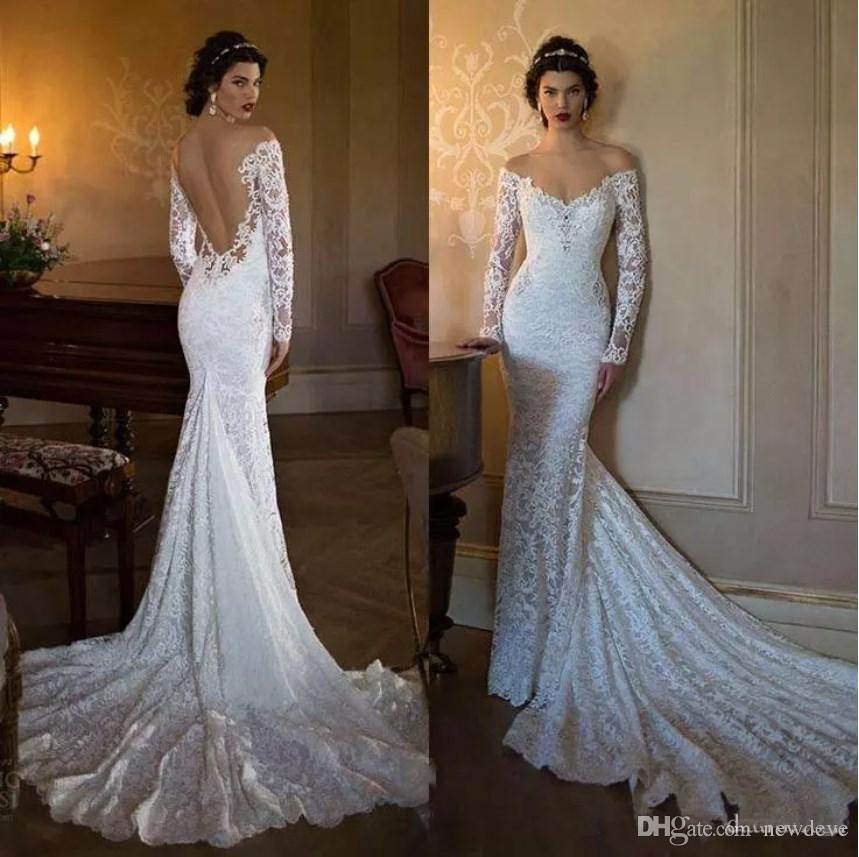 2019 New Slim Mermaid Wedding Dresses Long Sleeves Full