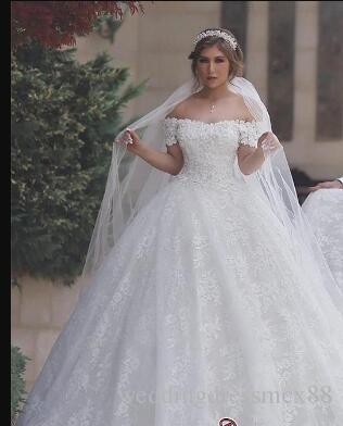 compre vestido de novia Árabe con encaje, espalda y hombros