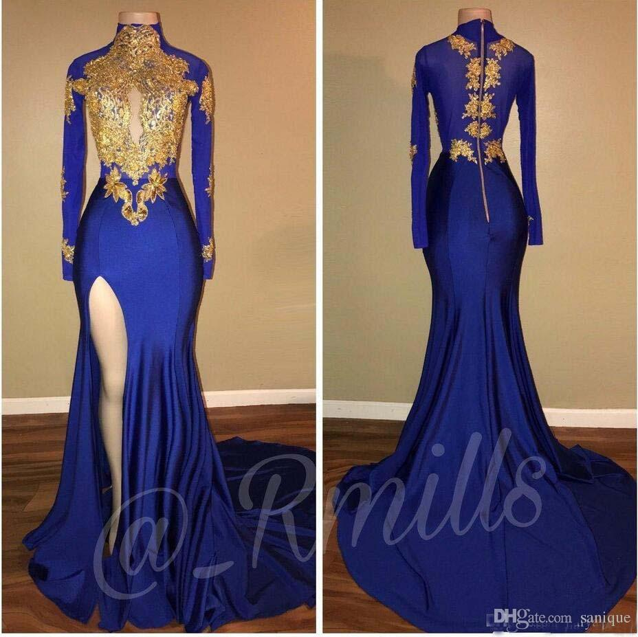 1d07f4e2d23 Royal Blue 2018 Gold Lace Appliques High Neck Prom Dresses Mermaid Keyhole  Long Sleeves African Side Split Black Girl Party Evening Gowns White Formal  Dress ...