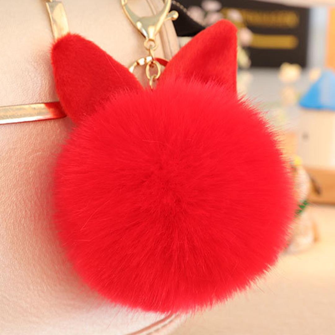 Novelty Women Keychains Super Cute Rabbit Ears Hair Ball Pendant Bag Key  Accessories Large Imitation Rabbit Hair Ball Keychains Keychain Access Key  Fobs ... f7d85cde82