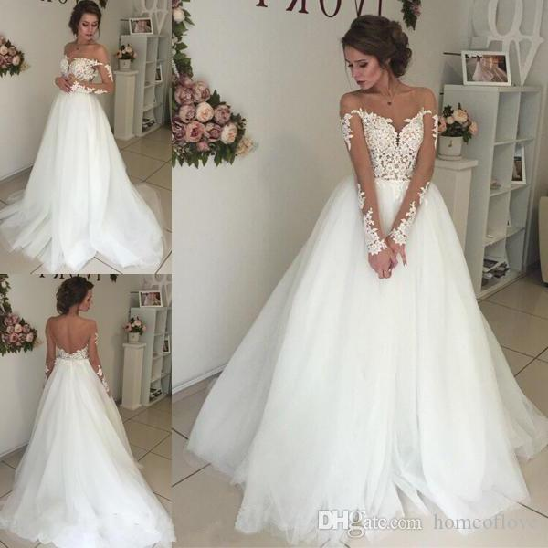 Discount Modest Wedding Dresses With Long Sleeves 2018 A Line Tulle  Backless With Illusion Bodice And Lace Applique Top Bridal Gowns Vestido De  Novia Bridal ...