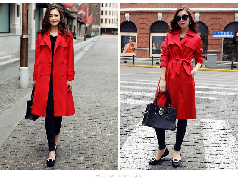2018 Spring Autumn Fashion New Red Temperament Slim Women Long Trench Coat Turn Down Collar Double Breasted Slit Outerwear XH253