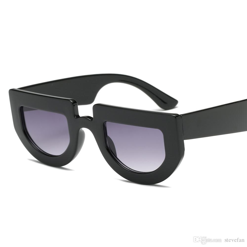White Half Round Sunglasses Women Thick Frame 2019 Black Retro ...