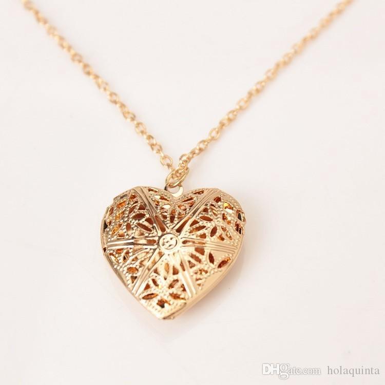 venta al por mayor de plata de la manera corazón colgante de collar de memoria medallón amor corazón encanto collares joyería de las mujeres