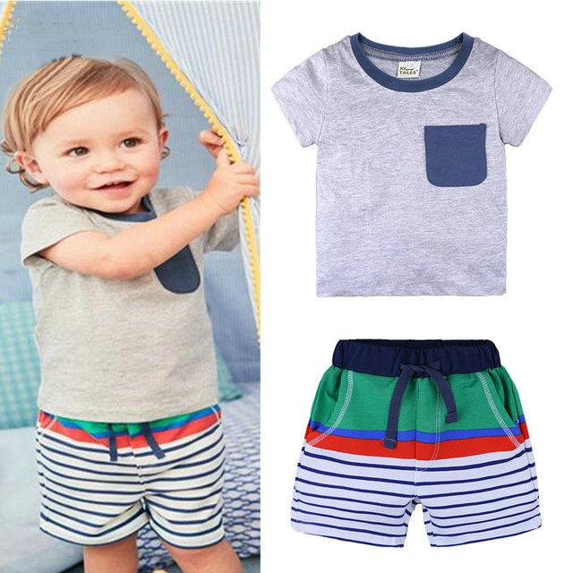 a084b2bc3fd3 Baby Boys Summer Clothes Tops T-shirt+Shorts Outfit Kids Toddler Set ...