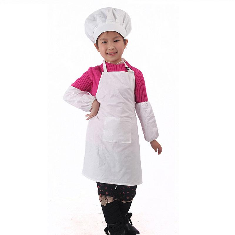 Cotton White Kids Apron And Chef Hat Child Cooking Baby Apron