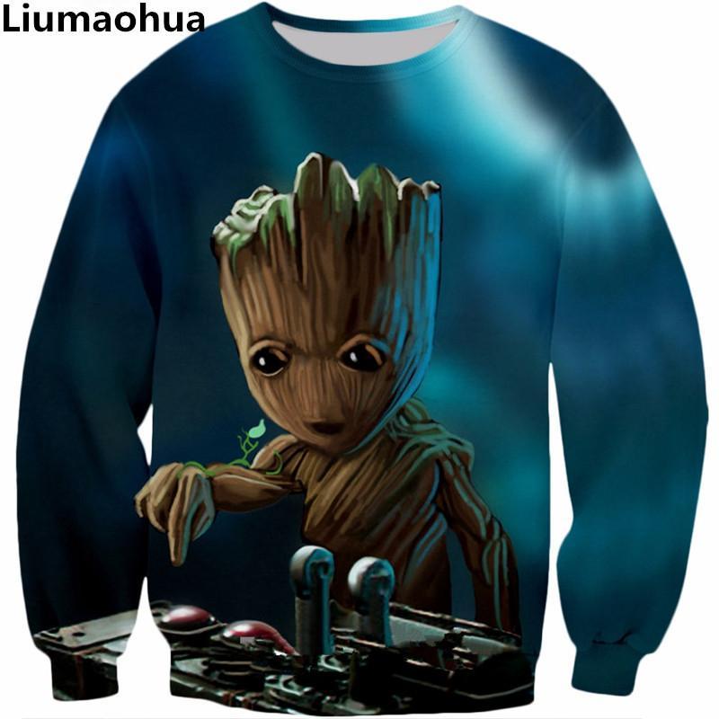 Compre Liumaohua 2018 Hip Hop Nueva Moda Sudadera Película De Superhéroes  Guardianes De La Galaxia Groot 3D Print Hombres   Mujeres Suéteres  D18100702 A ... 9003b77452f