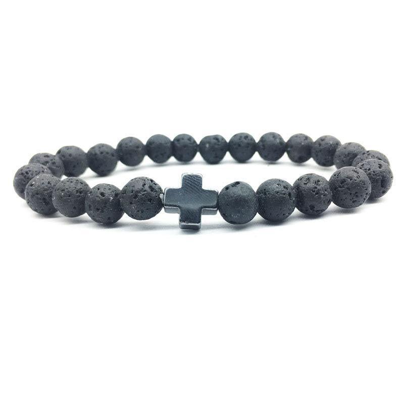 Herren Hämatit Kreuz 8mm schwarz Lava Stein Armband DIY Aromatherapie ätherisches Öl Diffusor Armband Frauen Männer Schmuck