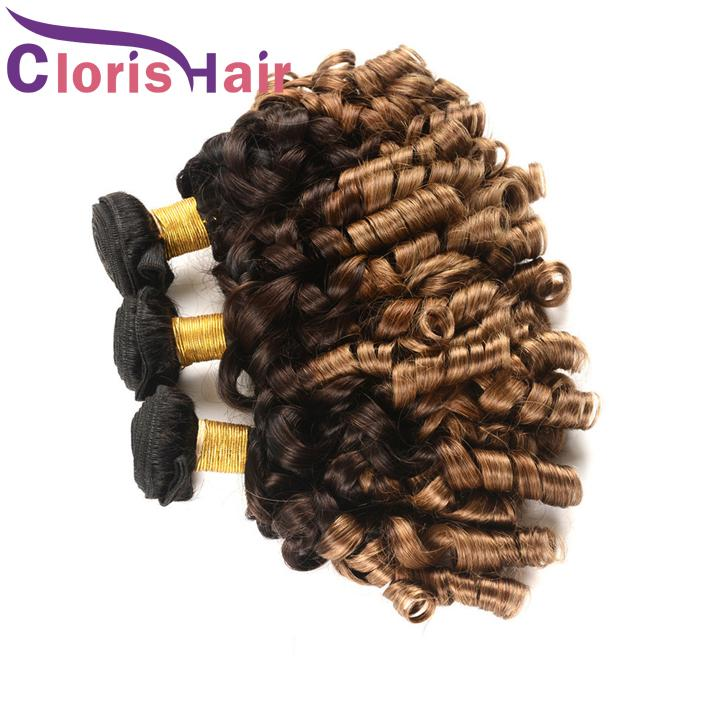 Colorato 1B 4 30 Ombre Bundle capelli Nigeria Aunty Funmi Vergine peruviana Estensioni dei capelli umani 3 Tone Blonde Primavera Riccia Tissage Ombre Tesse