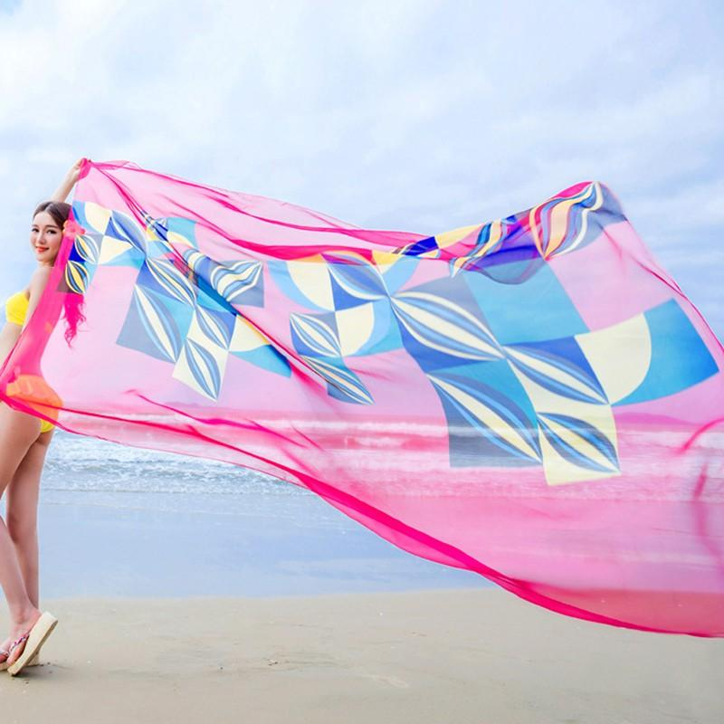 8ab4fb5fe6981 EFINNY 140x190cm Pareo Scarf Beach Sarongs Women Summer Chiffon Scarves  Geometrical Design Bandana Usa Gangsta Bandana From Donglingshi, $36.87|  DHgate.Com