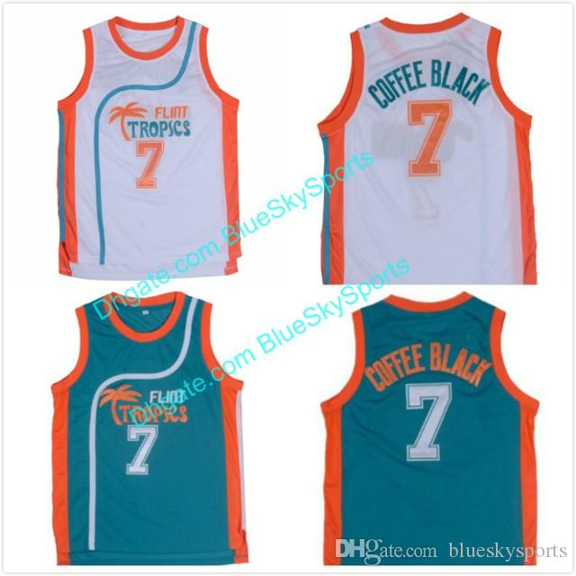 Men s 7 Coffee Black Jersey White Green Flint Tropics Semi Pro Movie ... ddd0c3a30