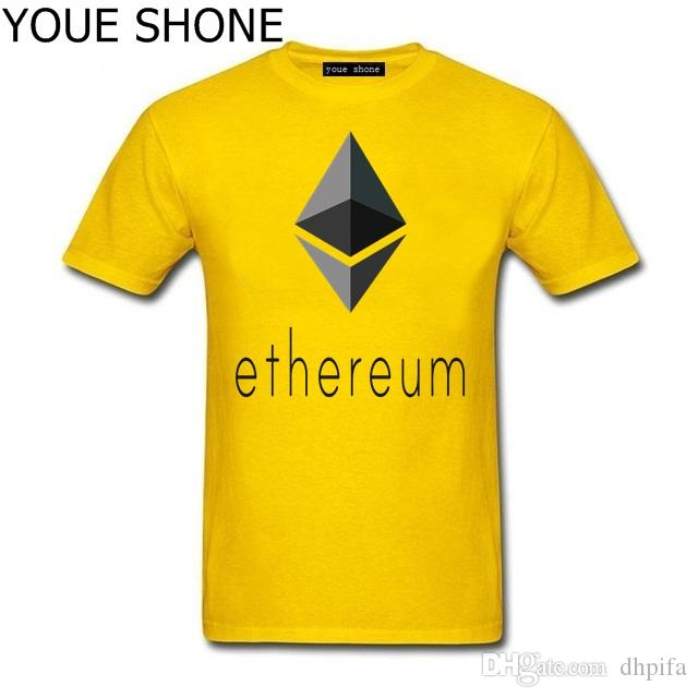 Ethereum Logo T-Shirts Homme Short Sleeve tee pullover Summer Bitcoin Funny T Shirts 3D men Ethereum Virtual Currency Leisure T-shirt T