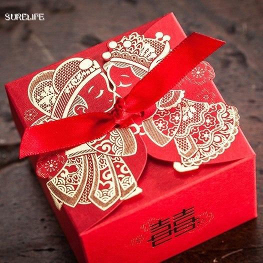 Cheap Wedding Favor Boxeswith Ribbon Red Chinese Wedding Candy Box