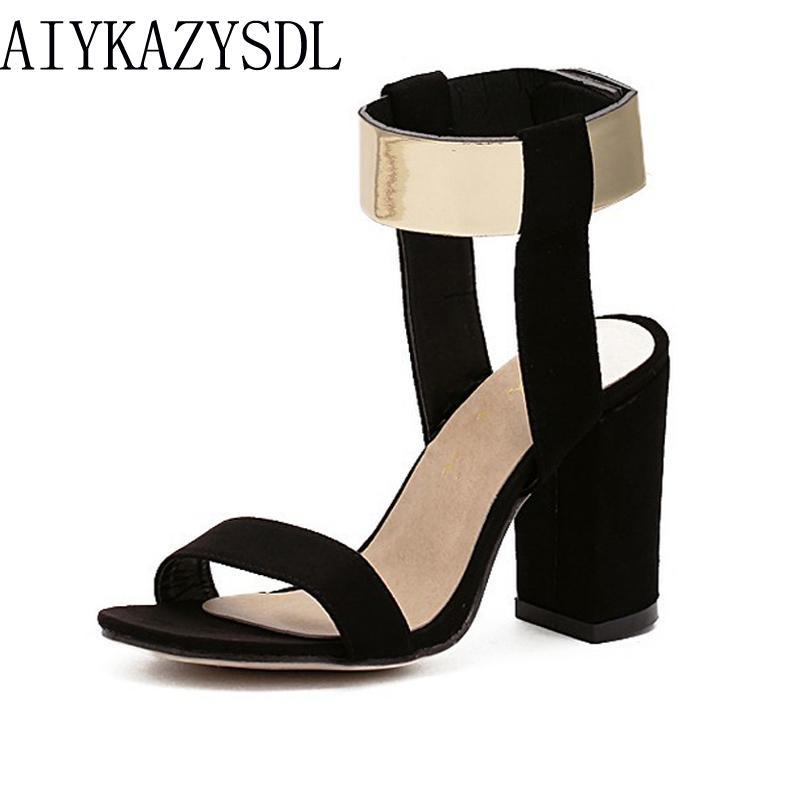 Sandalias Grandes Para Tiras Tacón 40 De Tallas Ante Tobillo Mujer Aiykazysdl Zapatos Imitación 35 Metalizado 7gYbfy6v