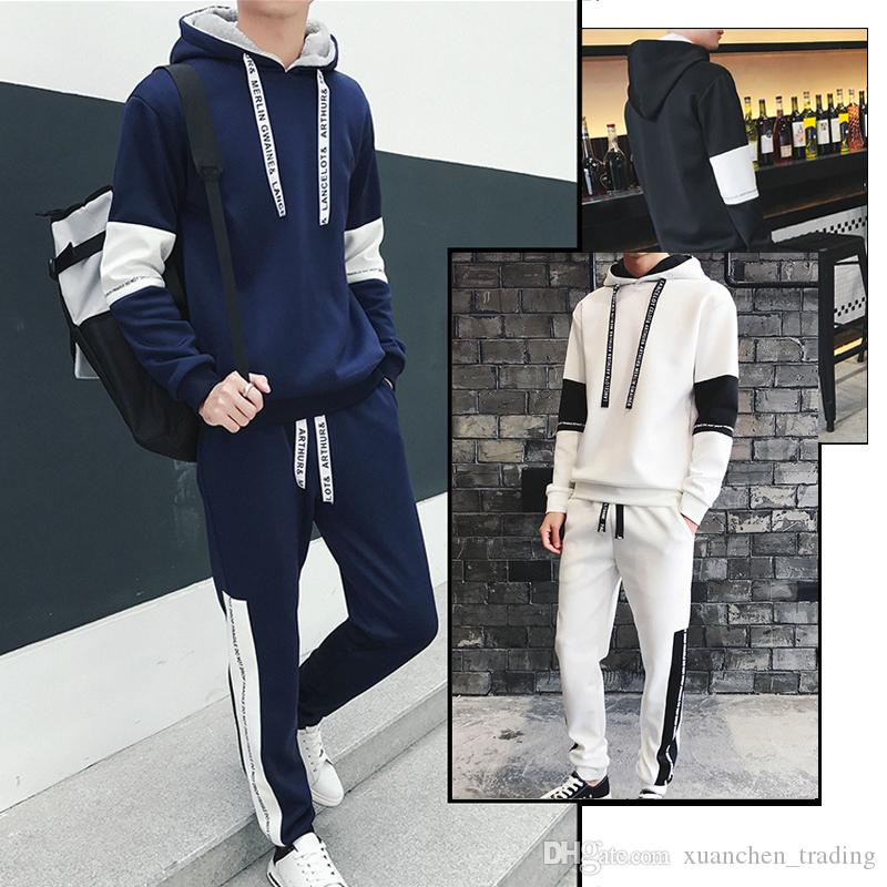 2018 New Autumn Sportwear PantsTracksuit Man Men Fashion Tracksuits Outwear Set 2 pieces Sweat Suit Youth Warm Casual Sweater Jacket