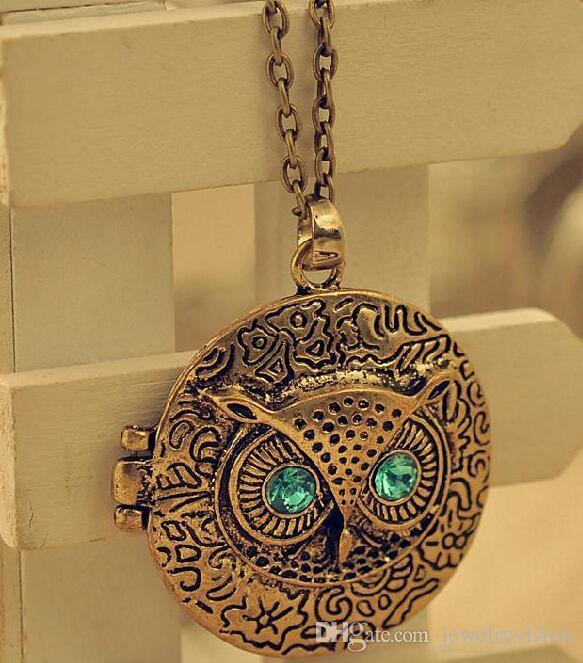 المرأة الجديدة الأزياء والمجوهرات الرجعية منفتح المنجد البومة قلادة قلادة القلائد البلوز
