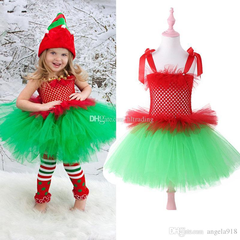 Baby girls Christmas Tutu Lace Tulle dress children Xmas suspender Dot princess dresses boutique performance costume Kids Clothing C5470